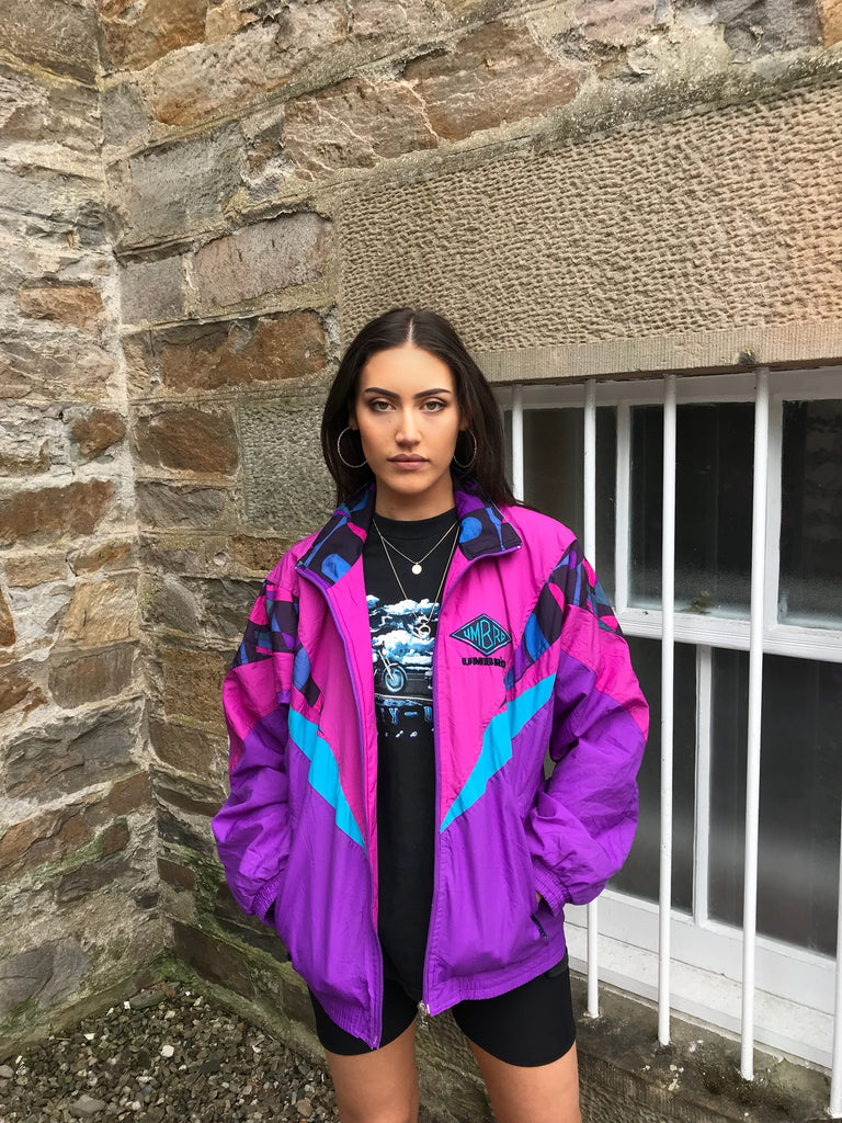 Vintage Unisex Umbro Oversized Windbreaker Festival Colourful Wavy Bomber Shell Jacket