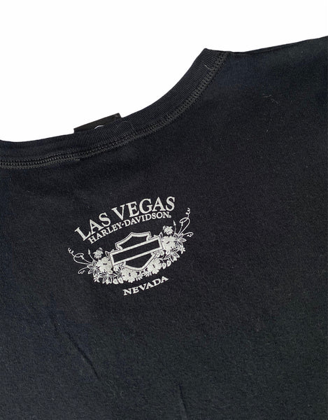 Vintage y2k Harley Davidson Las Vegas Sequin Embroidered Graphic Print Short Sleeve Top / T Shirt Black & Pink