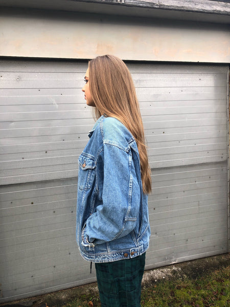 Vintage Oversized 90s Unisex Blue Denim Jean Jacket