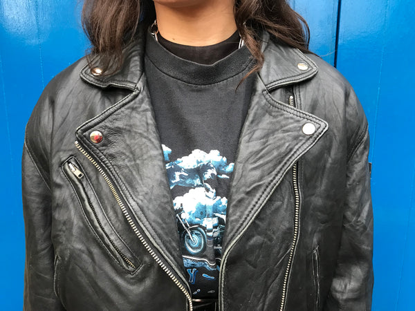 Vintage Biker Genuine Leather Jacket Black
