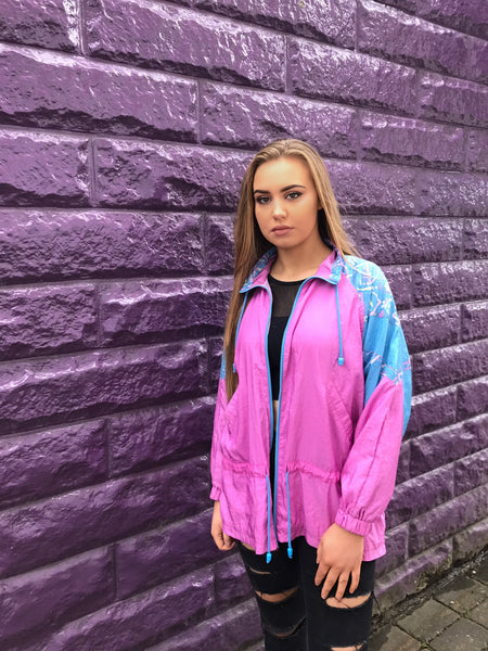 Vintage Windbreaker Oversized Shell Jacket Pink & Blue
