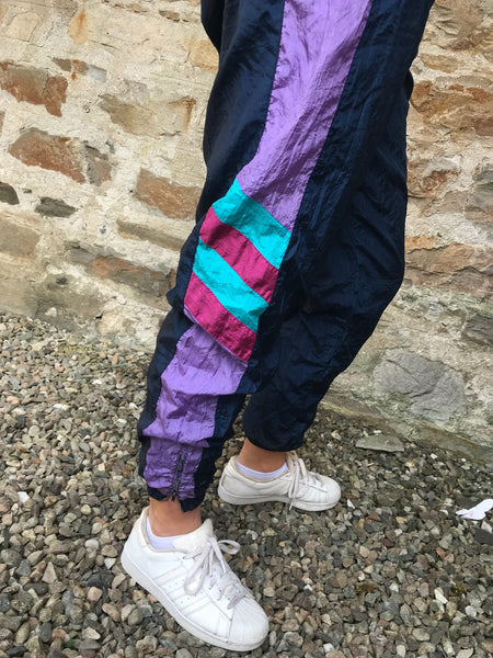 Vintage Unisex Tracksuit Bottoms Purple