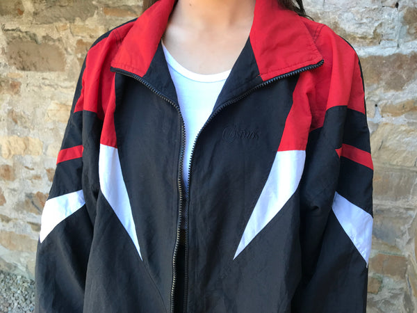 Vintage Unisex Retro Festival Windbreaker Wavy Shell Jacket Red & Black