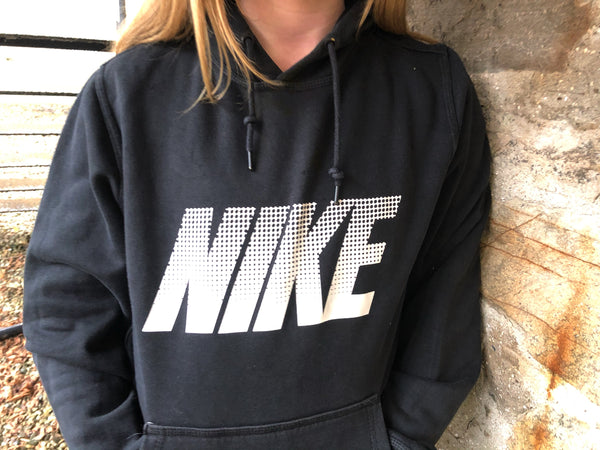 Vintage Nike Logo Oversized Hoodie / Hooded Sweatshirt Black