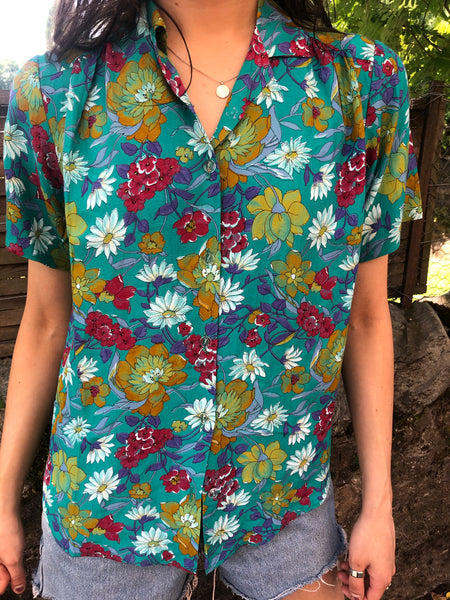 Vintage Floral Short Sleeve Unisex Jazzy Patterned Crazy Print Shirt