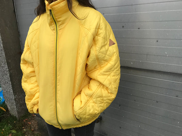 Vintage Unisex Oversized Le Coq Sportif Puffer Jacket Yellow