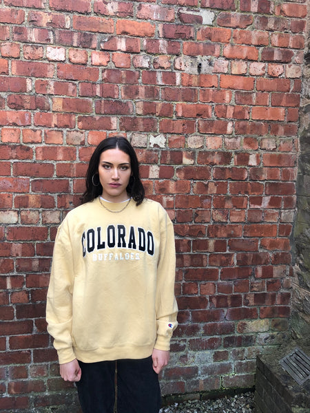 Vintage Champion USA Graphic Print Unisex Sweatshirt / Jumper / Sweater Yellow