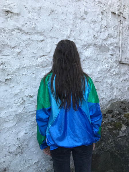 Vintage Unisex Oversized Windbreaker Festival Colourful Wavy Bomber Shell Jacket Green & Blue