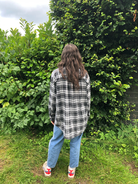 Vintage Checked Oversized 90's Thick Flannel Shirt Grey