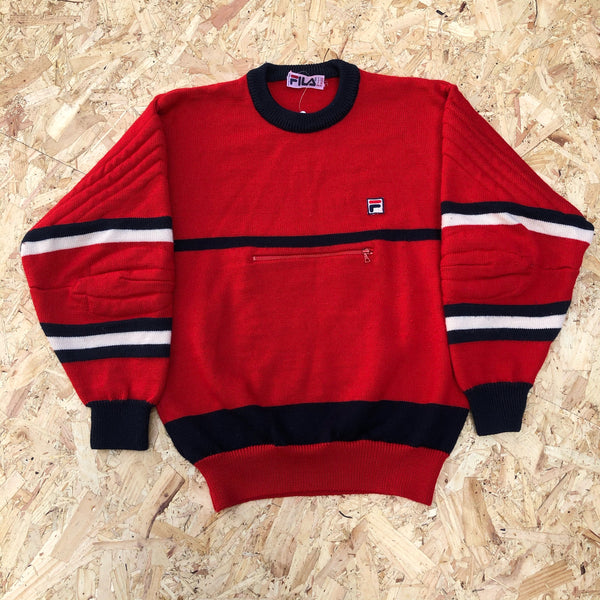 Vintage Fila Knitted Jumper / Sweater / Sweatshirt / Fleece Red