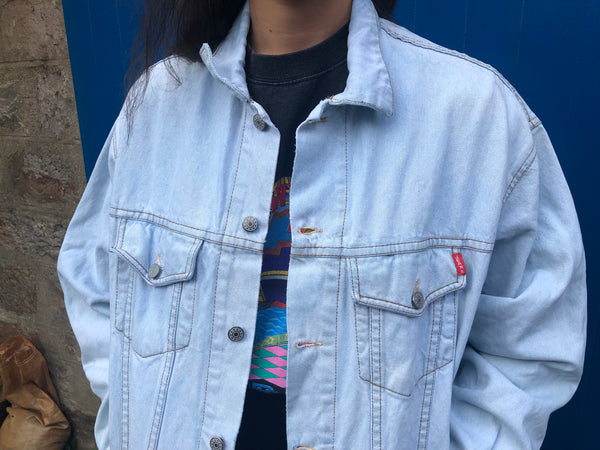 Vintage Oversized Unisex Light Blue Denim Jean Jacket
