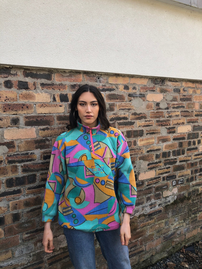 Vintage Unisex Colourful Crazy Print Oversized Funky Patterned 1/4 Zip Fleece Jumper / Sweatshirt