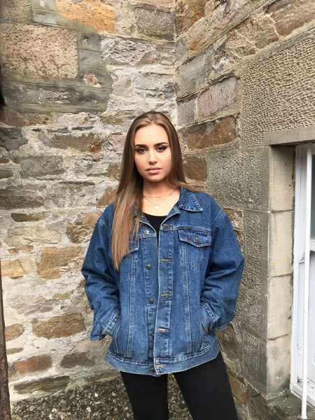 Vintage Oversized Unisex Dark Blue Denim Jacket