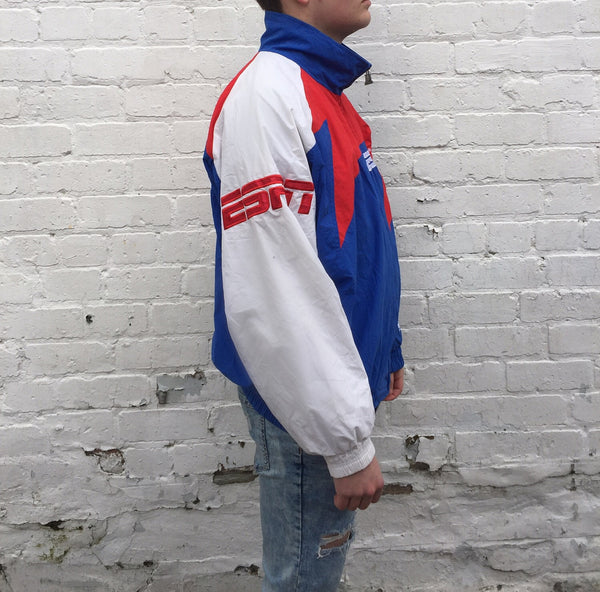 Vintage Unisex Blue & Red Logo Athletic ESPN Windbreaker Jacket