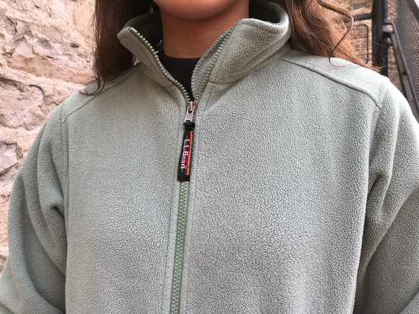 Vintage LL Bean Unisex Fleece Jacket Sage Green