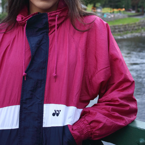 Vintage Unisex Retro Colourful Oversized Windbreaker Festival Shell Suit Jacket Pink & Navy