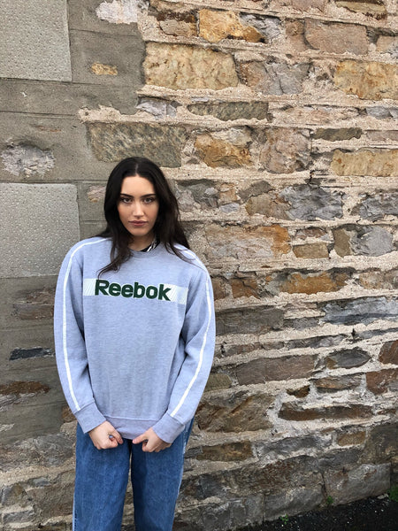 Vintage Reebok Spell Out Sweatshirt / Jumper / Sweater Grey & Green