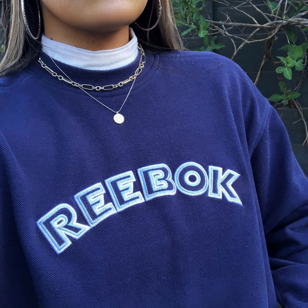 Vintage Reebok Spell Out Unisex Oversized 90s Sweatshirt / Sweater / Jumper Navy Blue