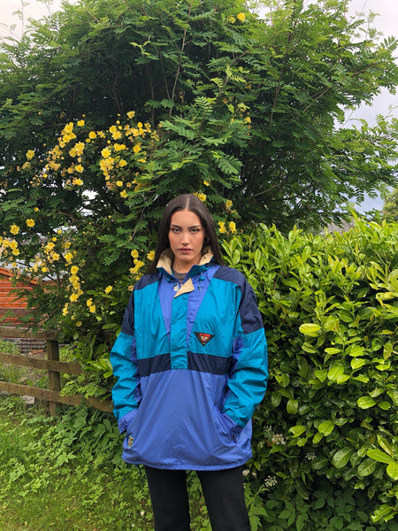 Vintage Windbreaker Unisex Oversized Festival Colourful Half Zip Shell Jacket Rain Coat Pullover Blue