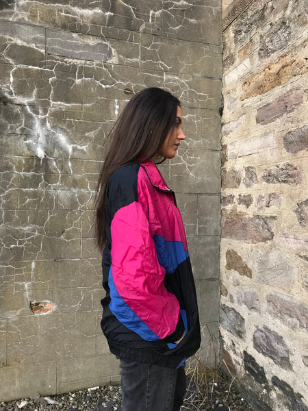 Vintage Colourful Unisex Retro Oversized Windbreaker Wavy Shell Jacket Pink & Black