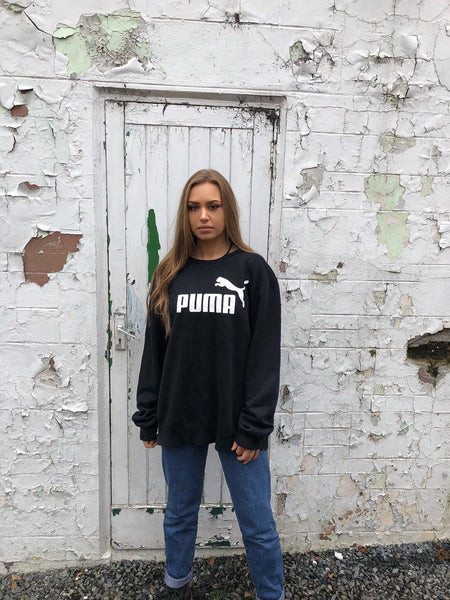 Vintage Puma Unisex Sweatshirt / Jumper / Sweater Black & White