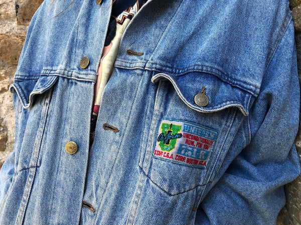 Vintage Embroidered Oversized Denim Jacket Blue