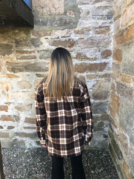 Vintage Unisex Oversized Checked Fleece Flannel Jacket Brown
