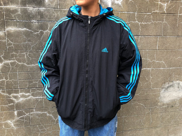 Adidas 3-Stripes Vintage Hooded Unisex Windbreaker Shell Track Jacket Black & Blue