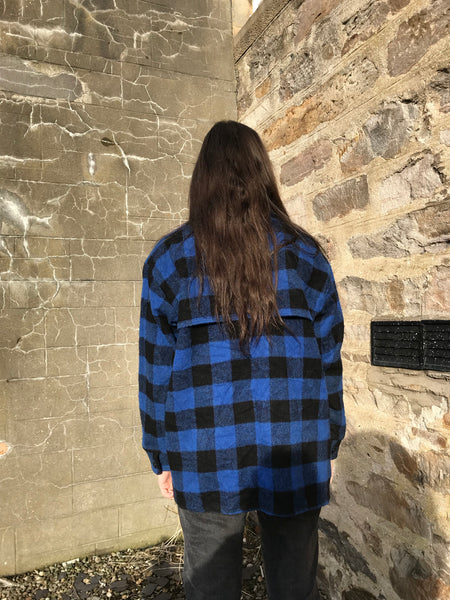 Vintage Unisex Thick Oversized Flannel Shirt/Jacket Blue