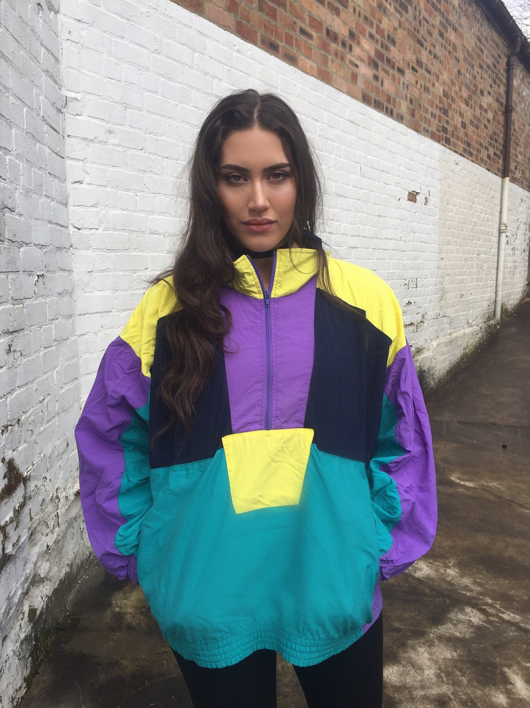 Vintage Unisex Retro Oversized Windbreaker Half-Zip Block Colour Jacket