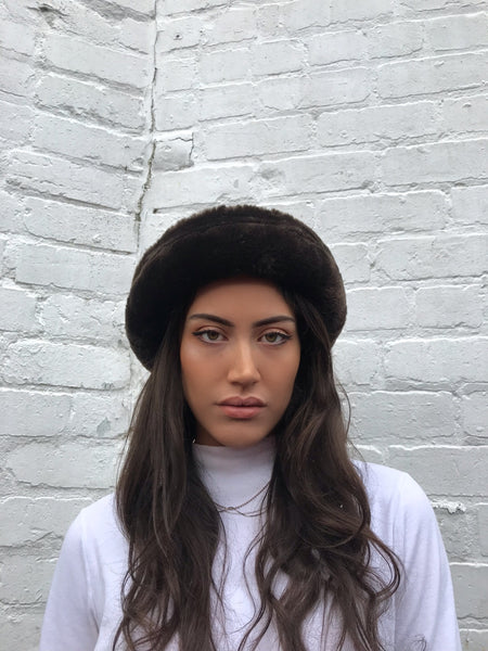 Vintage Brown Faux Fur Fluffy 90s Bucket Hat