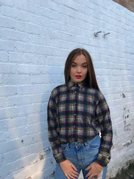 Vintage Unisex Thick Checked Oversized 90's Flannel Shirt