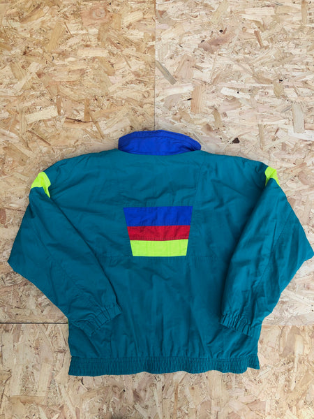 Vintage Colourful Retro Oversized Windbreaker Festival Shell Jacket