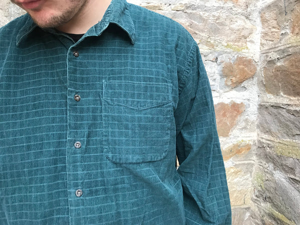 Vintage 90s Cord / Corduroy Unisex Ribbed Oversized Shirt Green