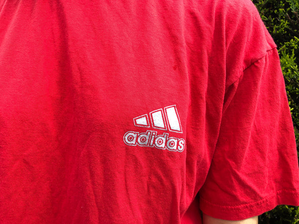 Vintage Adidas Unisex Oversized Baggy T Shirt Red