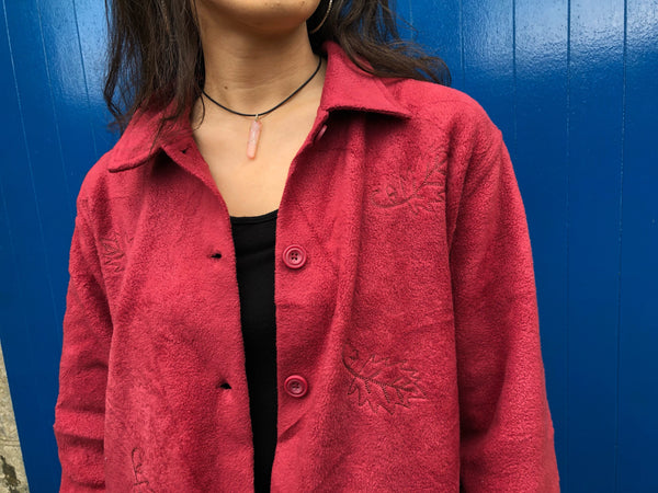 Vintage Oversized Patterned Soft Fleece Jacket / Jumper Red