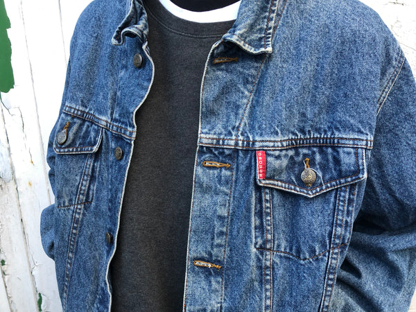 Vintage Oversized 90s Unisex Denim Jean Jacket Dark Blue