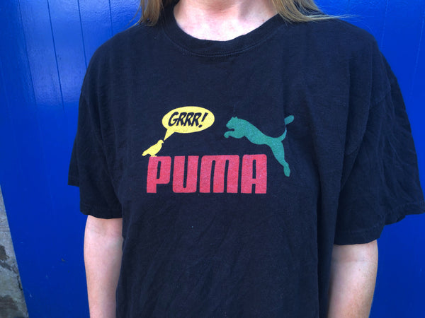Vintage Puma Graphic Unisex T Shirt Black