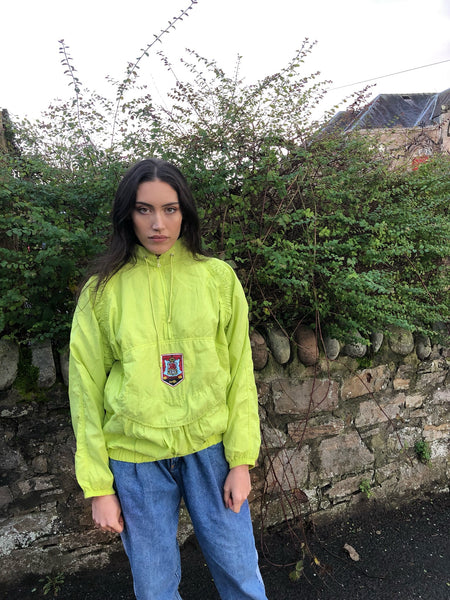 Vintage Windbreaker Unisex Oversized Festival Colourful Half Zip Shell Jacket Rain Coat Pullover Neon Green