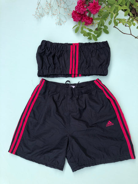 Vintage Reworked Adidas 3-Stripes Logo Tracksuit Tube Top & Shorts Two Piece Set Black & Hot Pink