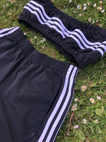 Vintage Reworked Adidas 3-Stripes Tracksuit Tube Top & Shorts Two Piece Set / Co-Ord Black & White