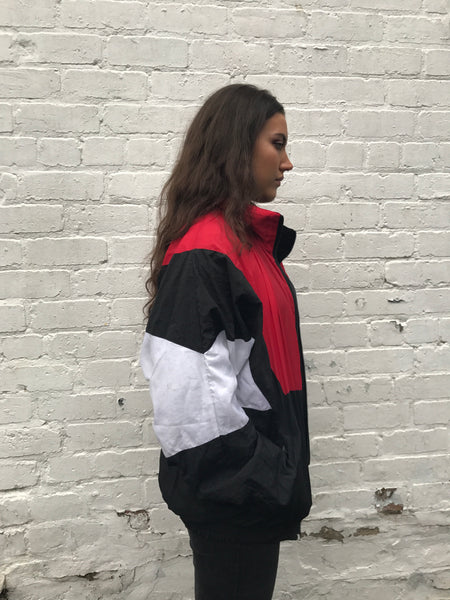 Vintage Oversized Unisex Windbreaker Shell Jacket Red & Black