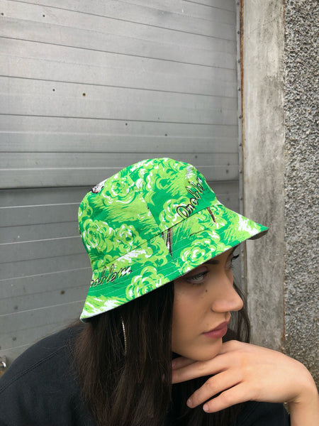 Love Route Unisex Neon Green Patterned Bucket Hat