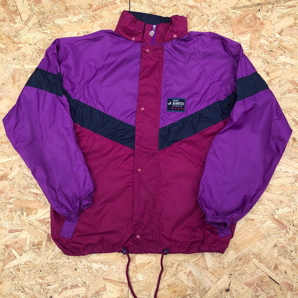 Vintage Windbreaker Unisex Oversized Festival Colourful Shell Jacket Rain Coat Pink & Purple