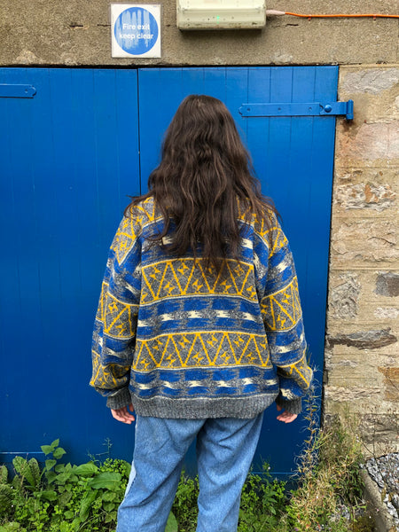Vintage Coogi Style Patterned Knitted 90s Granny Jumper / Sweater Yellow & Blue
