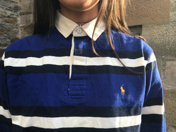 Vintage Ralph Lauren Long Sleeve Stripe Unisex Polo Shirt Blue