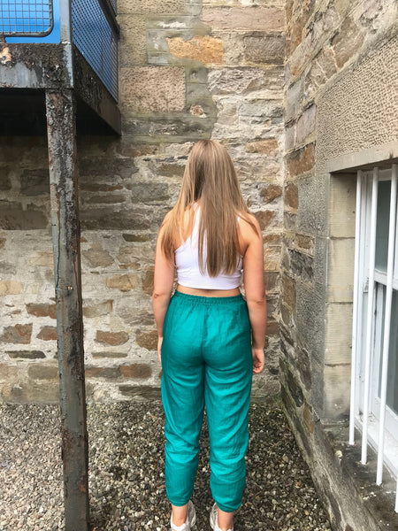 Vintage Unisex Baggy Tracksuit Bottoms Shell Suit Trousers Turquoise