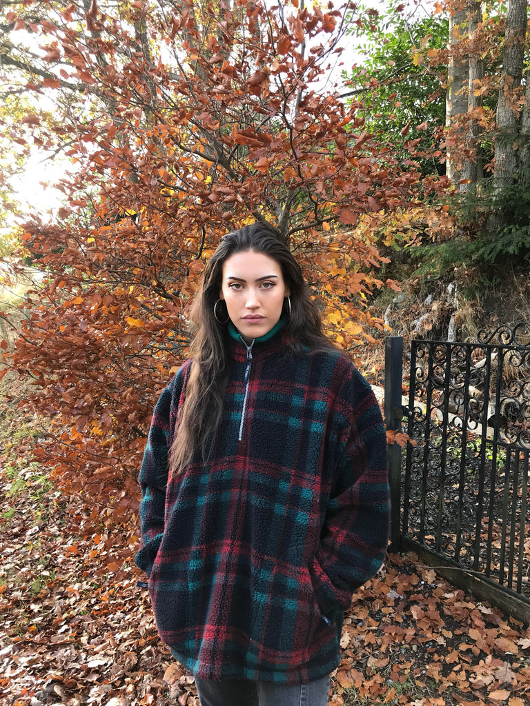 Vintage Unisex Oversized Fleece Pullover Jumper Checked Tartan Red & Green