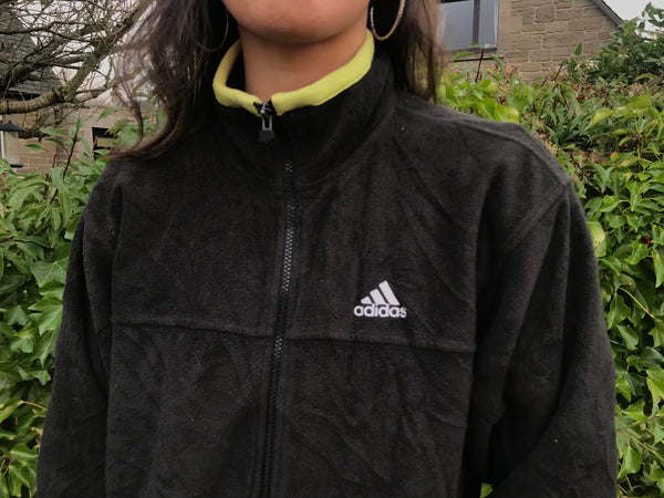 Vintage Adidas Unisex Fleece Jacket Black