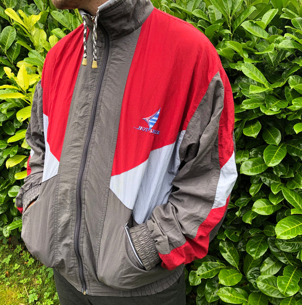 Vintage Unisex Retro Oversized Windbreaker Festival Shell / Bomber Track Jacket Red & Grey
